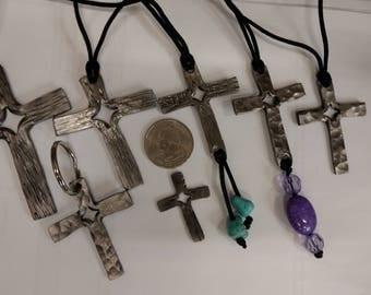hand forged split cross pendant