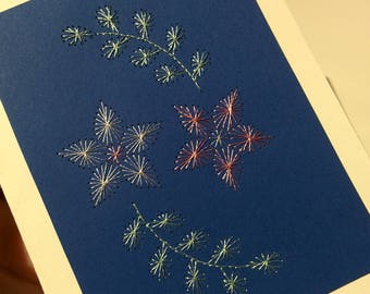 Christmas greeting card, hand embroidered flowers with silk threads