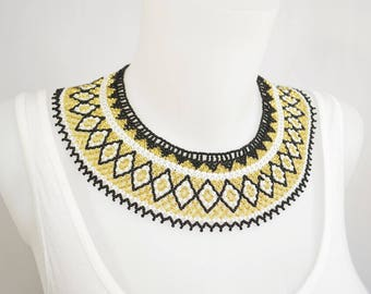 LUUV - QUETZAL necklace - gold / black / white - style Bohemian exotic