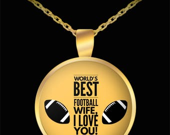 WORLD'S BEST Football Wife! Gold Plated Necklace