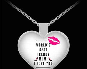 WORLD'S BEST Trendy Mum! Silver Plated Necklace