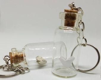Cork bottle keyring, origami hearts