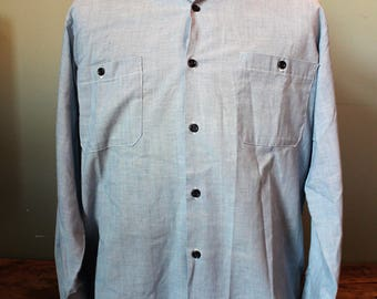 Vintage Chambray Button Up Shirt | Broken In | Very soft | Size Medium Large | Made in USA | Faded