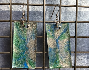 Sparkly Epoxy Earrings - Silver, Green, Blue