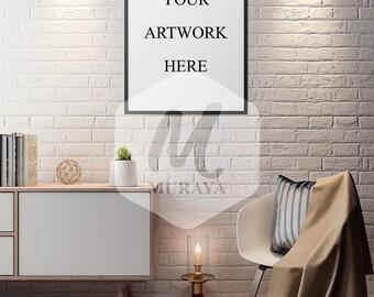 Living room frame mockup, Thin black frame, Styled Stock Photograpy, Sophisticated Interior, PSD Mockup, Digital Item, Natural Lighting