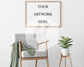 Wood Frame Mockup, Wood Landscape Frame, Styled Stock Photograpy, Scandinavian Style Interior, PSD Mockup, clean interior, Natural Lighting