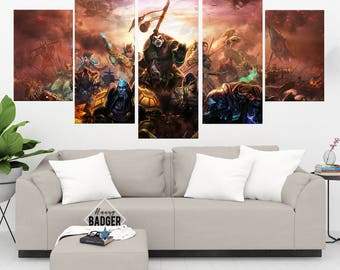 Mists of Pandaria World of Warcraft 5 Panel / Piece Canvas Set WoW Wall Art Print Poster Artwork Wall Decor Painting Decal Mural Decoration