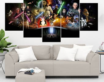 Star Wars Characters 5 Panel / 5 Piece Canvas Set, Star Wars Wall Art Print, Star Wars Poster Artwork Decor Painting Decal Mural Decoration
