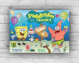 SpongeBob Invitation, SpongeBob Birthday, SpongeBob Party, SpongeBob Invite, SpongeBob Printable, SpongeBob Birthday Invitation, Toddlers