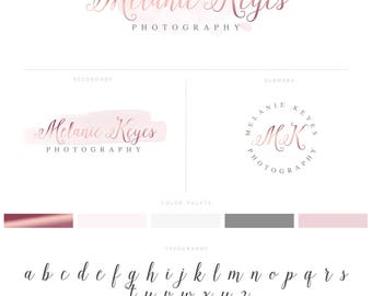 Rose Gold Signature Logo Design Branding Package with Photography Logo Modern Blush Pink Watermark Stamp and Script Style Initials Logo  017