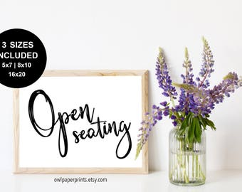 Open Seating Sign - Printable PDF, Wedding Signs, Event, Party, Church sign, Family and friends