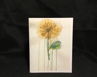 Blank Watercolor Flower Card