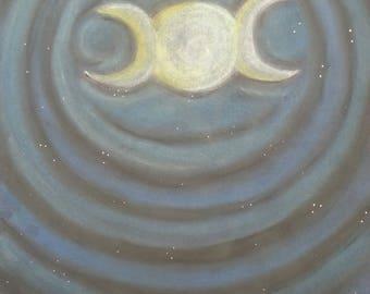 Chalk pastel Goddess Symbol.