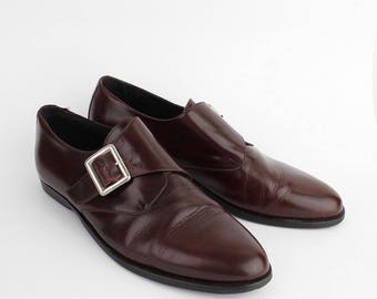 EU 42 vintage Buckle shoes - brown burgundy leather italian shoes made in Italy - womens size Uk 7.5 / Us 10 - mens size Uk 8 / Us 8.5