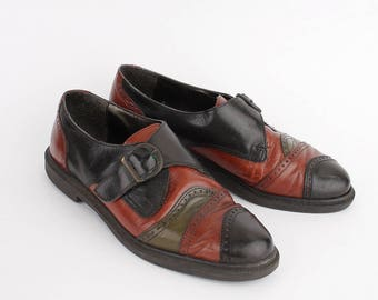EU 38 / 39 vintage Buckle shoes - multicolor patchwork leather italian shoes - black red low shoes 70s - size UK 5/6 - US 7.5/8.5 fits small