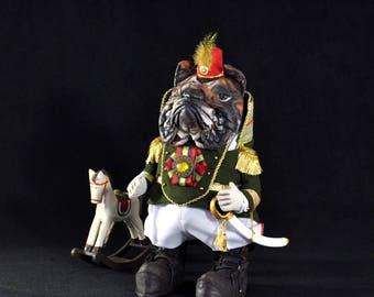 The General. Bulldog. Dog. Symbol 2018 (interior doll, fabric toy, textile doll). Генерал Бульдог