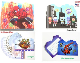 20pc Kid's Party Invitation Card , Spider-Man,Avengers & Super BoysTheme ,party invitation,Celebrate birthday,camping,beach,pool party