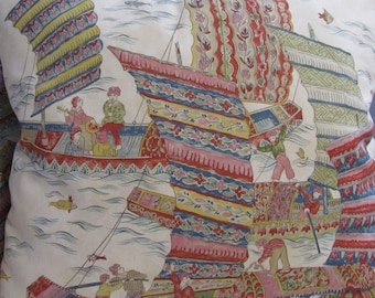 "Pair Brunschwig and Fils ""Fortunate Harbor""  Pillow Covers"