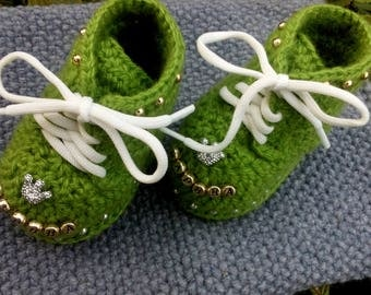 Crochet booties, baby shoes with name
