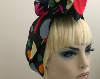 Long satin polka dot silky satin scarf, multi-colored dots, scarves, head wraps, gifts for her, women's accessories