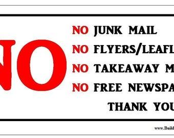 No Junk Mail sign (Aluminum Sign)