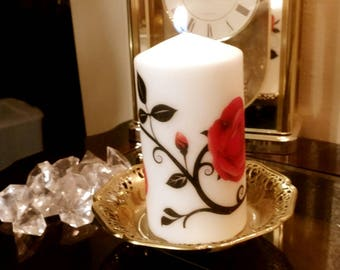 Roses pillar candle 2.8 x 5.5 in.