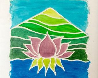 Magic Lotus, Original Acrylic Painting On Canvas. Lotus Flower. Whimsical painting.