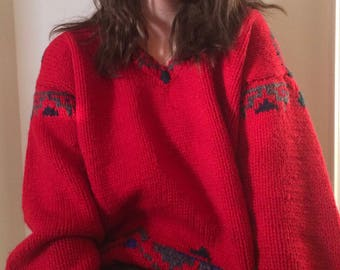 Vintage Over-Sized Thick & Comfy Red Polo by Ralph Lauren Sweater