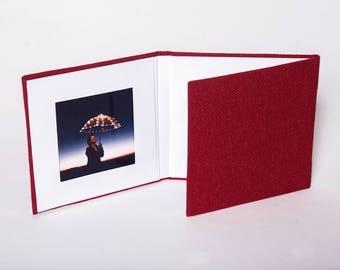 4x4 Red Matted Folio, Linen Trifold, Folio, Triple Folio, Triple Frame, Portrait Folios, Photo Holder, Desk Photo Frame, Photo Holder