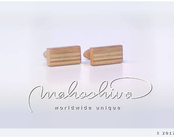 wooden cuff links wood alder maple handmade unique exclusive limited jewelry - mahoshiva k 2017-01