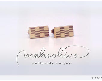 wooden cuff links wood walnut maple handmade unique exclusive limited jewelry - mahoshiva k 2017-56