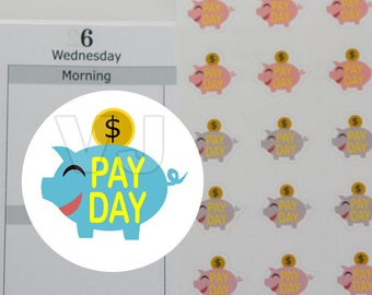 54 pay day stickers,piggy bank sticker,planner stickers------M184P