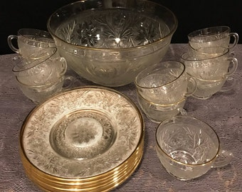 Depression Glass -Anchor Hocking Sandwich Gold Trimmed Punch Bowl 11 Punch Cups  6 Sandwich plates