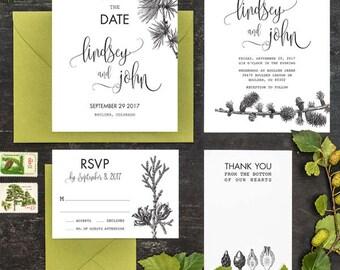 Rustic Pine Tree Wedding Invitation Set of 4 Printable
