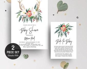 INSTANT DOWNLOAD Boho Antler Floral Baby Shower Invitation Printable