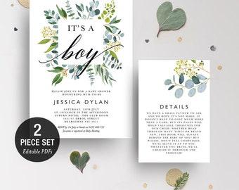 INSTANT DOWNLOAD Its A Boy Eucalyptus GreeneryShower Invitation Printable Template - BONUS Detail Card