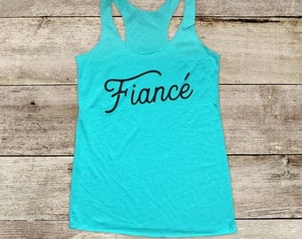 Fiance - wedding bride gift bridal tank Soft Tri-blend Soft Racerback Tank - funny fitness gym yoga running exercise shirt