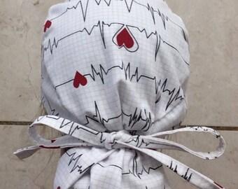 Women's scrub hat cap heart beat pattern