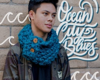 Ocean City Blues Button Up Infinity Scarf