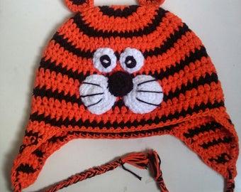Kids Tiger Flap Ear Hat