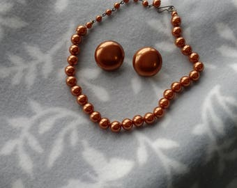 Vintage Bronze Bead Necklace and Clip Back Earring Set