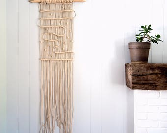 Winding Path Wall Hanger in Cotton and Wood
