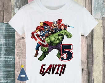 Avengers Iron Man Captain America Hulk Thor Black Widow superhero custom Birthday Party T-shirt - personalized with name and age