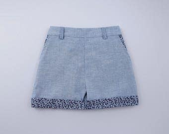 Girls Denim Shorts with printed detail on pockets and hem