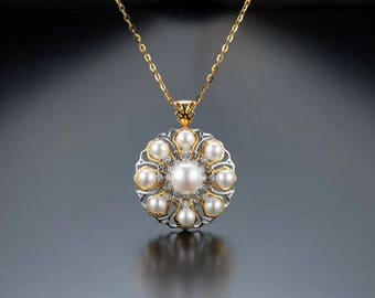 18k gold necklace with akoya pearls and diamonds