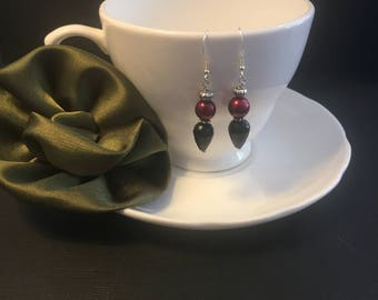 Black and Ruby Red Beaded Drop Earrings