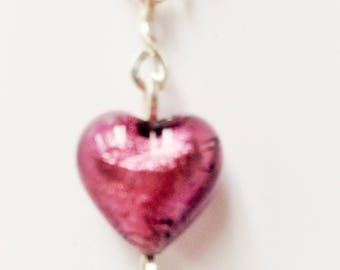 Necklace Purple glass heart bead with square wire bale Women Gift Valentines Day