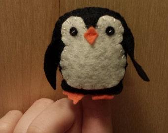 Tiny Felt Penguin Finger Puppet