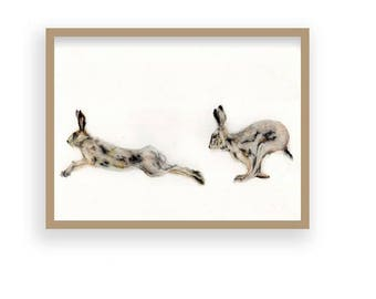 As Mad As A March Hare - Original Hand-Drawn Hare/Nature Print (Not Framed or Mounted)