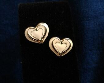 Vintage Enamel Heart Earrings Gold & Cream- 80s Glam- Classy Earrings- Enamel Jewelry- Valentine's Day- Costume Earrings- Romantic Gifts